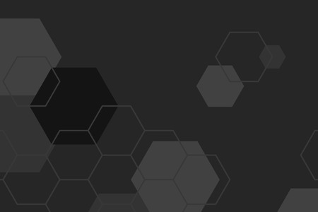 Black and gray hexagon geometric pattern background vector