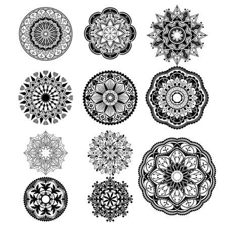 Black mandalas patterns set on white background