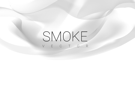 Gray smoke abstract on white background vector  イラスト・ベクター素材