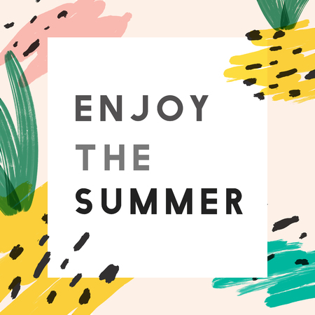 Enjoy the summer memphis design vector