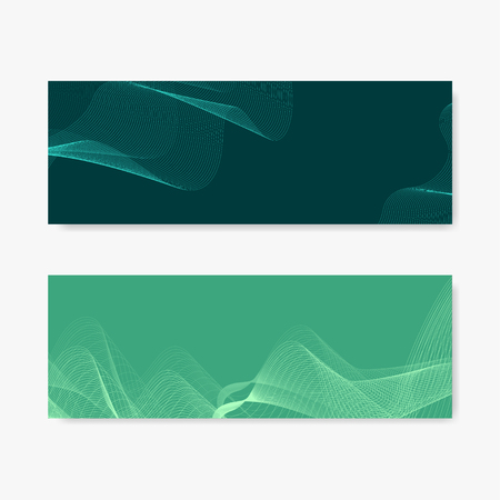 Green moiré wave banner vectors set