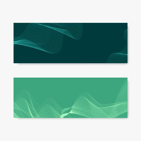Green moiré wave banner vectors set