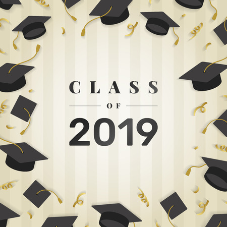 Graduation class of 2019 vector Illustration
