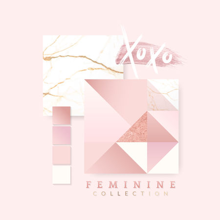 Pink feminine geometric background vectors set Ilustração