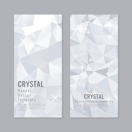 Gray and white crystal textured banner template vector