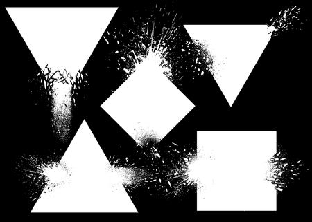 Design elements with ink splashes vector set