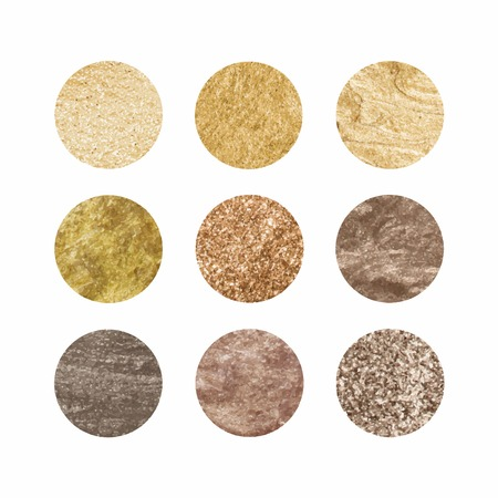 Set of round golden texture vectors 矢量图像