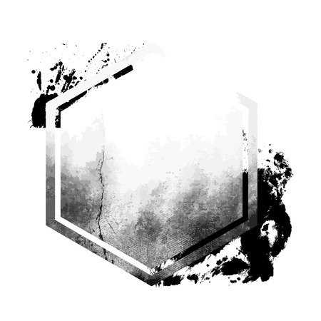 Grunge black distressed hexagon emblem Ilustração