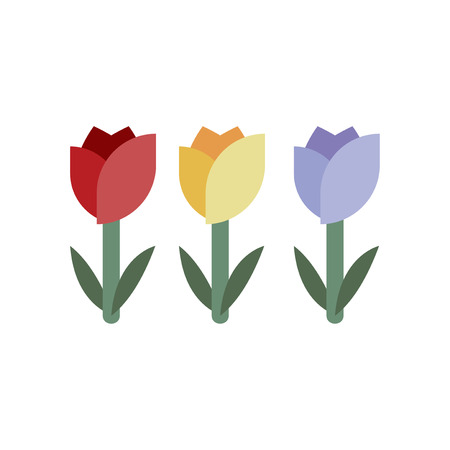 Three colorful tulip vector Ilustração