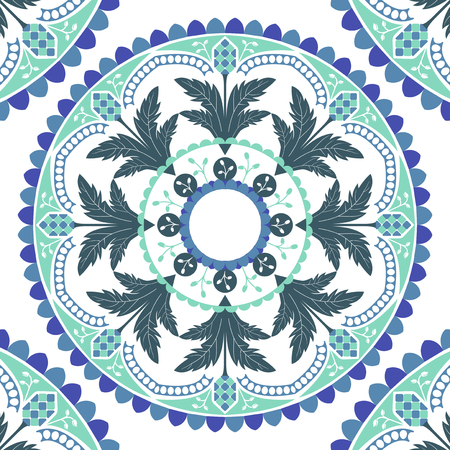 Green and blue mandala pattern on white background