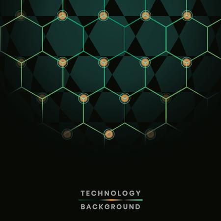 Green hexagon network technology background vector Vektoros illusztráció
