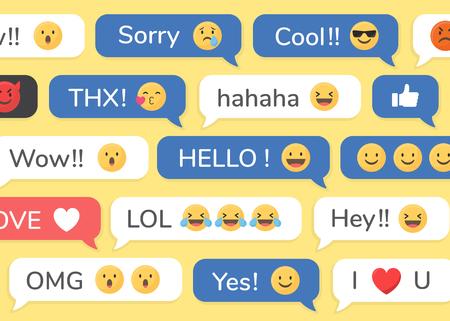 Social media emoji in speech bubbles patterned background vector