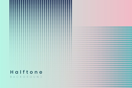 Geometric halftone blue and pink background vector