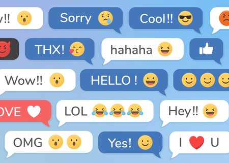 Social media emoji in speech bubbles patterned background vector