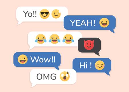 Social media emoji in speech bubbles vector