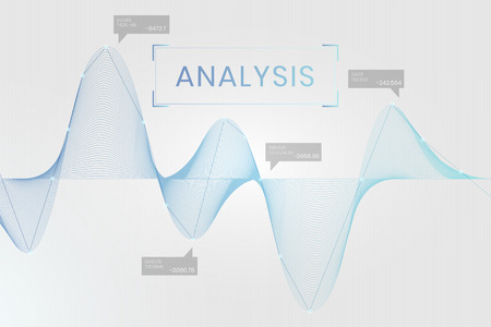 Blue business data analysis graph vector