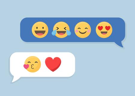 Social media emoji in speech bubbles vector Stock Vector - 124220097