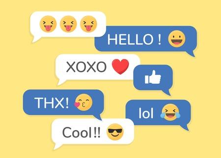 Social media emoji in speech bubbles vector Stock Vector - 119698115