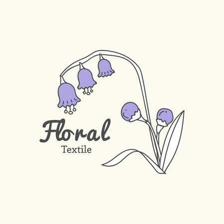 Floral textile logo design vector