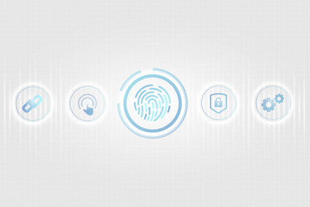 Blue finger scan biometric identity background vector