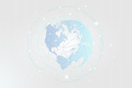Vecteur de fond d'icônes de technologie de réseau social bleu