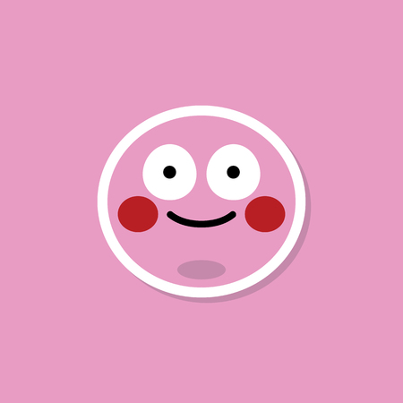 Pink facial emoji blushing vector Фото со стока - 119698125