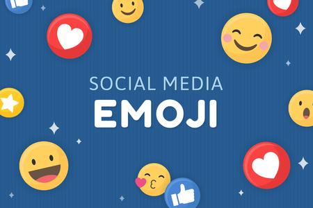 Social media emoji pattern on a blue background vector