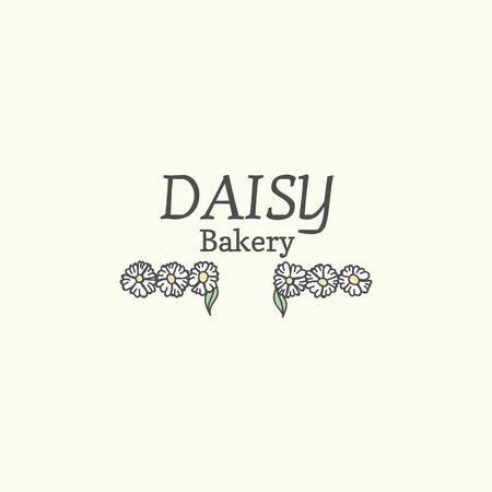 Floral daisy bakery logo vector