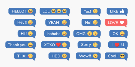 Social media emoji in speech bubbles vector set