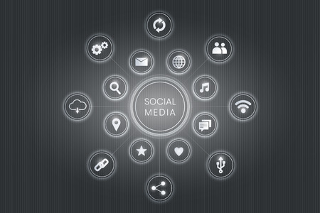 Gray social media technology icons background vector