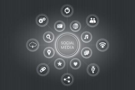 Vecteur de fond d'icônes de technologie de médias sociaux gris Vecteurs
