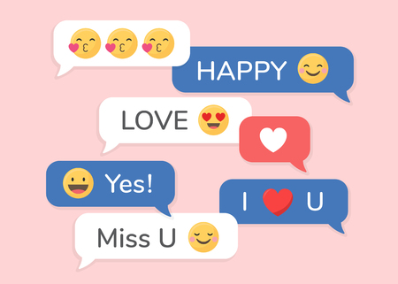 Valentine social media emoji in speech bubbles vector