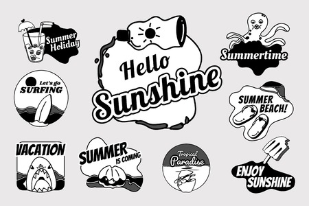 Tropical summer badge collection vectors