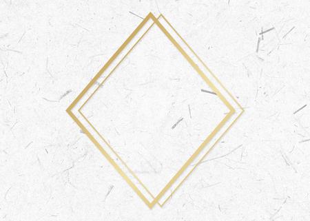 Golden framed rhombus on a paper textured illustration