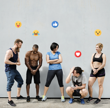 Diverse active people in workout clothing