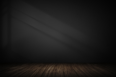 Dark gray wall with wooden plank product background Stockfoto