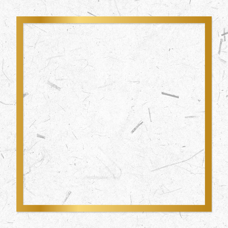 Golden framed square on a paper texture