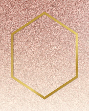 Gold hexagon frame on a rose gold background