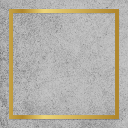 Gold square frame on a gray concrete textured background Stockfoto