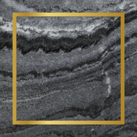 Gold square frame on a gray marble textured background Фото со стока