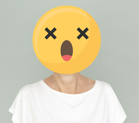 Astonished face emoji portrait on a woman