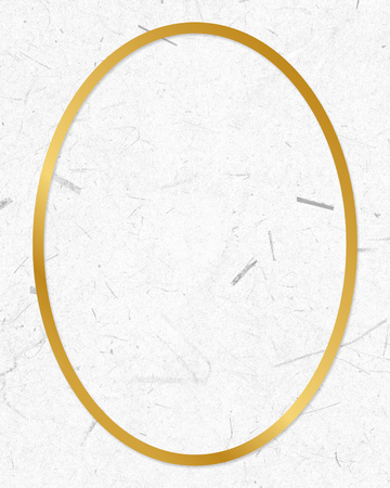 Golden framed oval on a paper texture Stock Photo