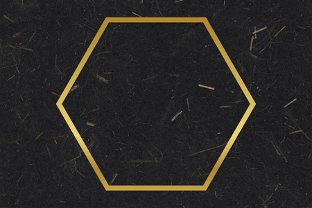 Gold hexagon frame on a black mulberry paper textured background