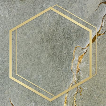 Golden framed hexagon on a marble textured illustration Zdjęcie Seryjne