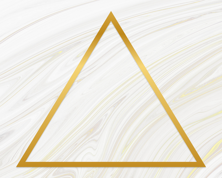 Golden framed triangle on a liquid marble texture Stock Photo