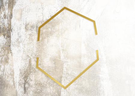 Golden framed hexagon on a grunge texture