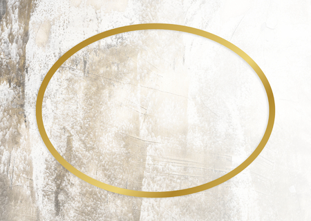 Golden framed oval on a grunge texture Фото со стока