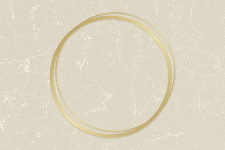 Gold circle frame on a beige paper textured background illustration Archivio Fotografico - 119944322