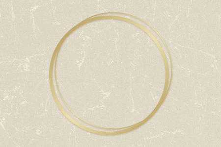 Gold circle frame on a beige paper textured background illustration