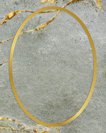 Golden framed oval on a marble texture 写真素材 - 119944352